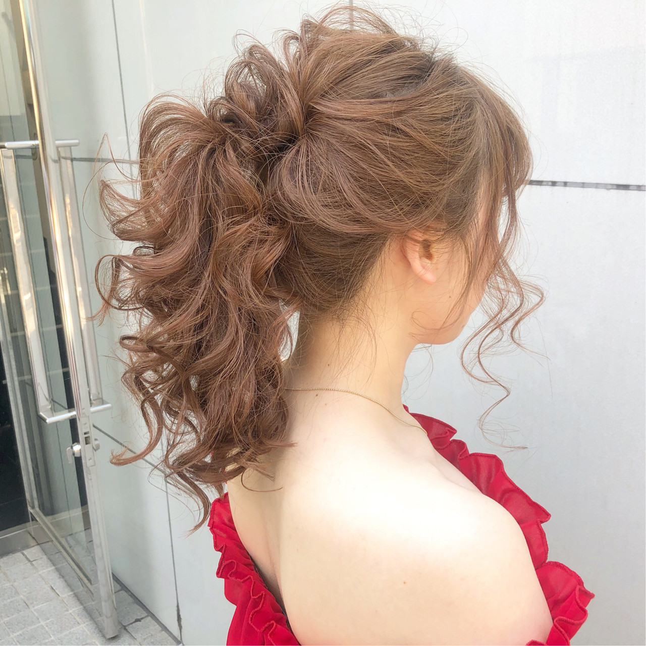 結婚式 ナチュラル セミロング ヘアアレンジ ヘアスタイルや髪型の写真・画像   『ボブ美容師』永田邦彦 表参道 / send by HAIR