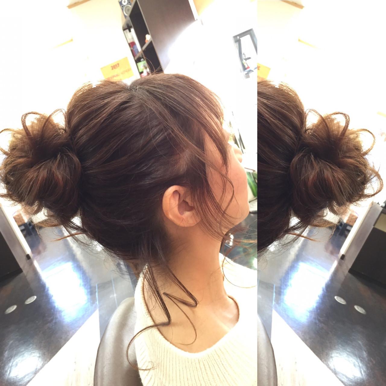 ショート 簡単ヘアアレンジ フェミニン セミロング ヘアスタイルや髪型の写真・画像 | 佐藤 允美 / Hair Space  ACT  LOCALLY(アクトローカリー)