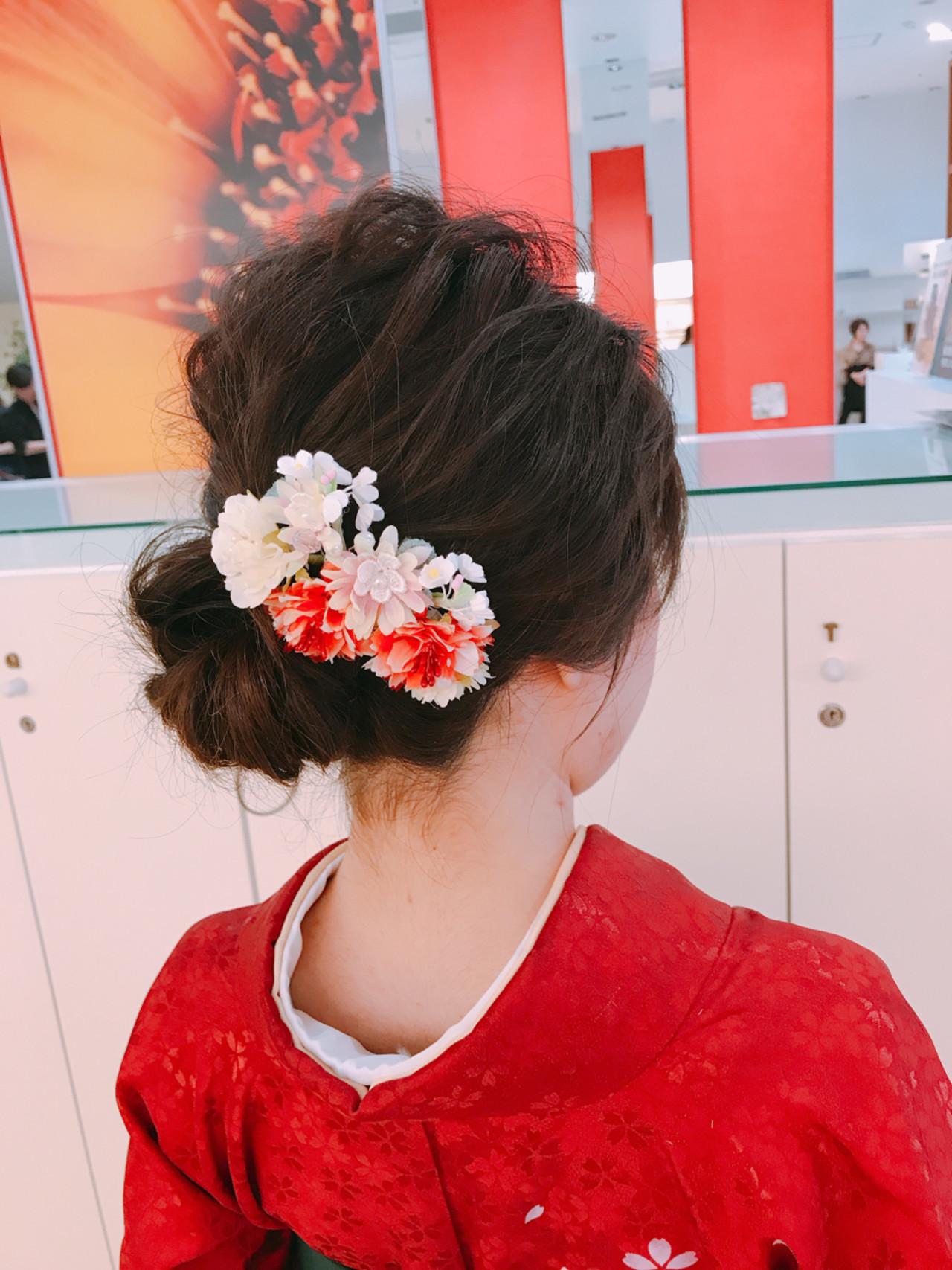 成人式 ミディアム ヘアアレンジ 簡単ヘアアレンジ ヘアスタイルや髪型の写真・画像 | 永井野 健人 / F.AVEDA 木の葉モール橋本