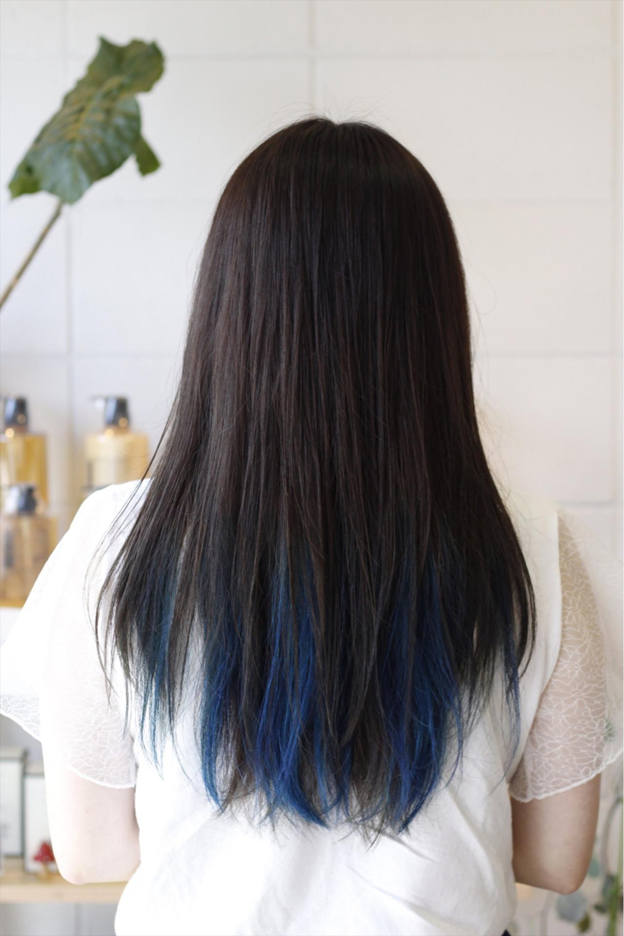 ロング モード インナーカラー ダブルカラーヘアスタイルや髪型の写真・画像