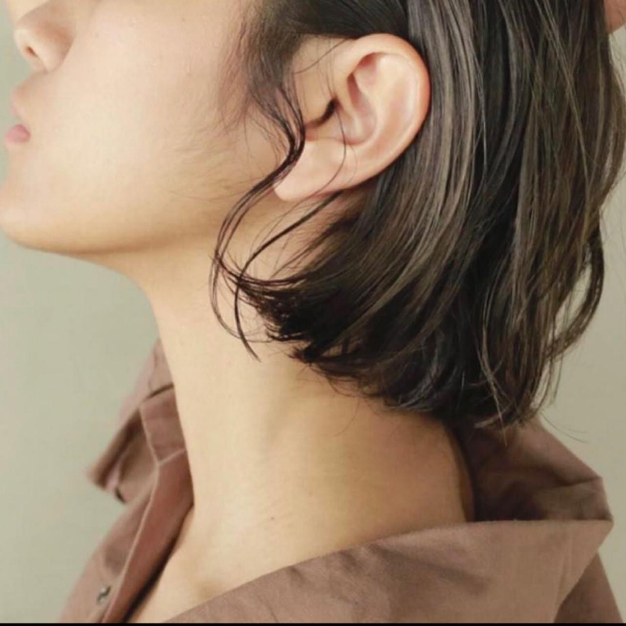 ハイライト ボブ ナチュラル ロブヘアスタイルや髪型の写真・画像
