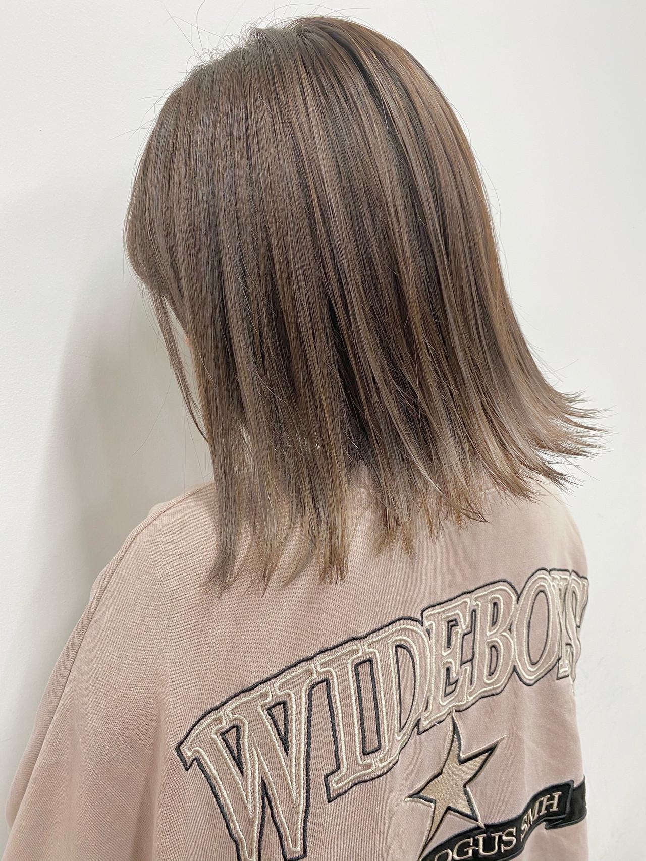 外ハネボブ 3Dハイライト ナチュラル ミルクティーベージュ ヘアスタイルや髪型の写真・画像   ADITION/ナカ カズキ / ADITION