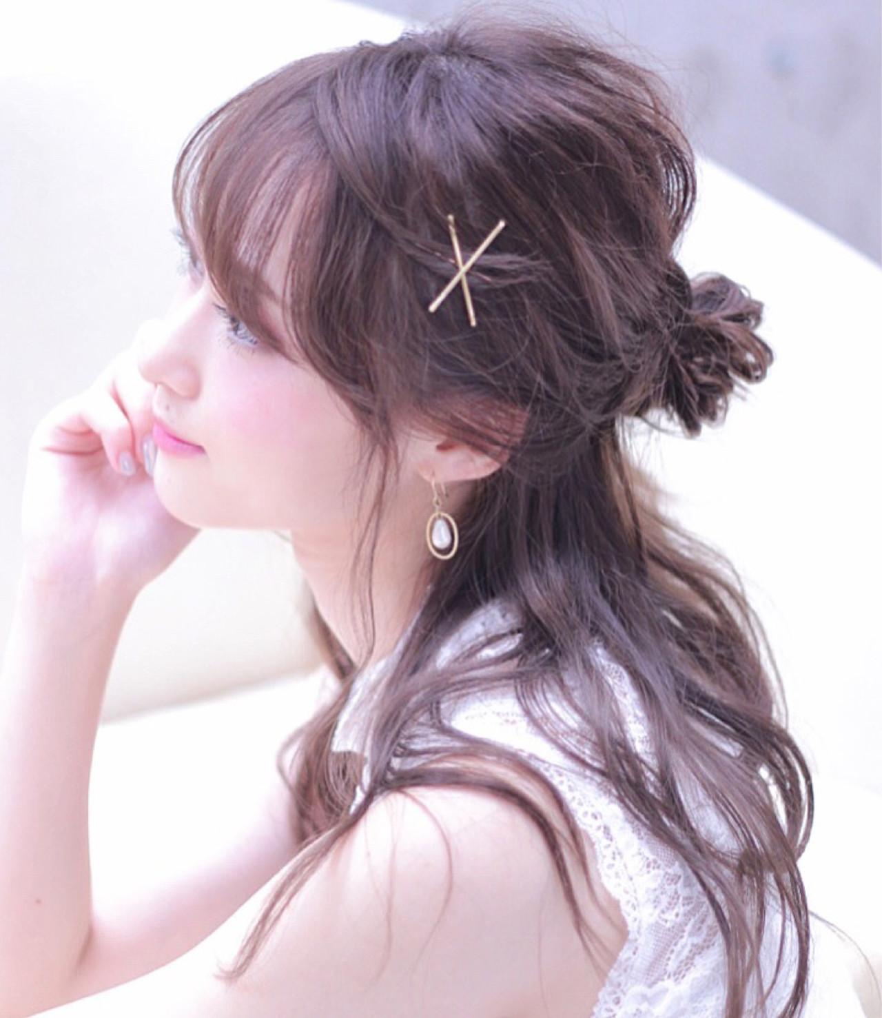 お団子 ハーフアップ フェミニン 女子会 ヘアスタイルや髪型の写真・画像 | Wataru Maeda / cache cache