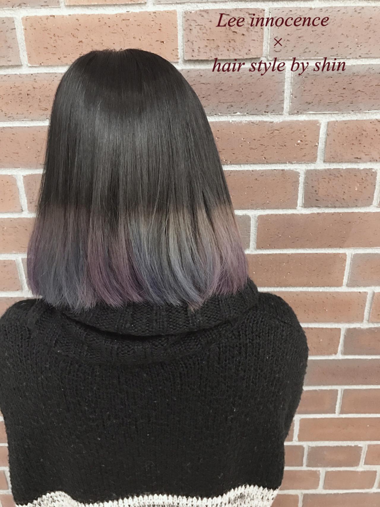 アッシュ グラデーションカラー ストリート ボブ ヘアスタイルや髪型の写真・画像 | Lee innocence 宮本伸一(shin) / Lee innocence 西宮北口店