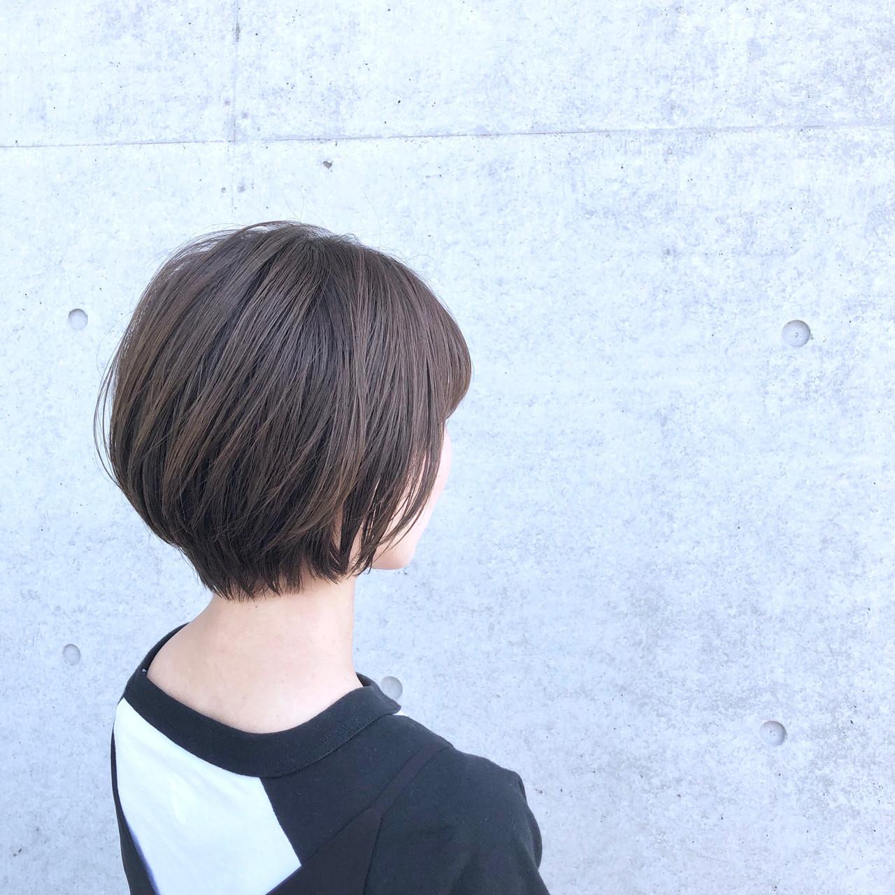 ナチュラル ショート ショートボブ 艶髪 ヘアスタイルや髪型の写真・画像 | 藤原 彰麻 / créde hair's 五日市店