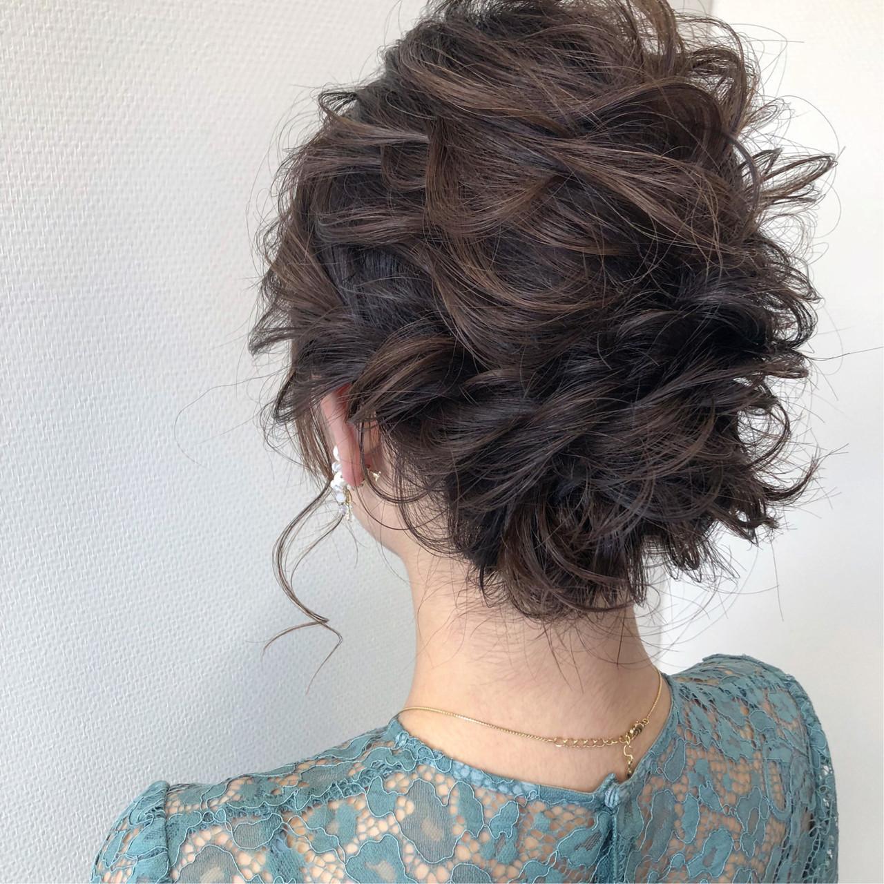結婚式 ナチュラル 簡単ヘアアレンジ ボブヘアスタイルや髪型の写真・画像