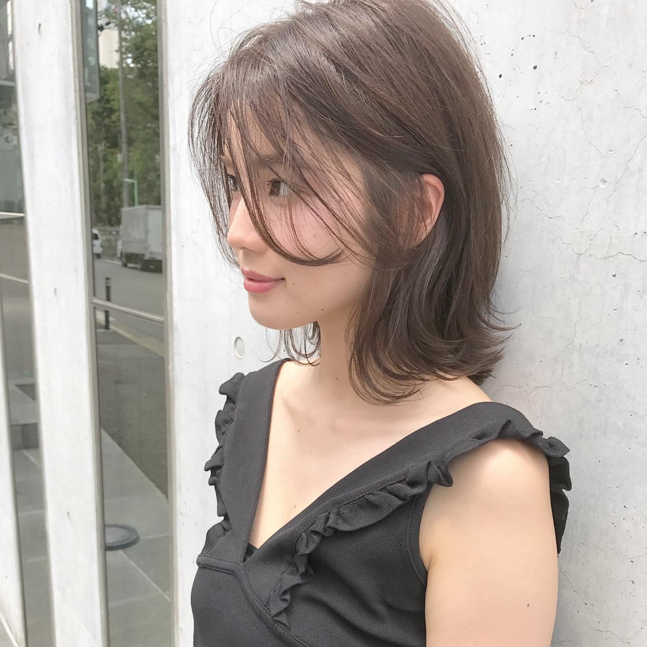 ナチュラル 暗髪 ミディアム 抜け感 ヘアスタイルや髪型の写真・画像 | 祖父江基志 / NOESALON