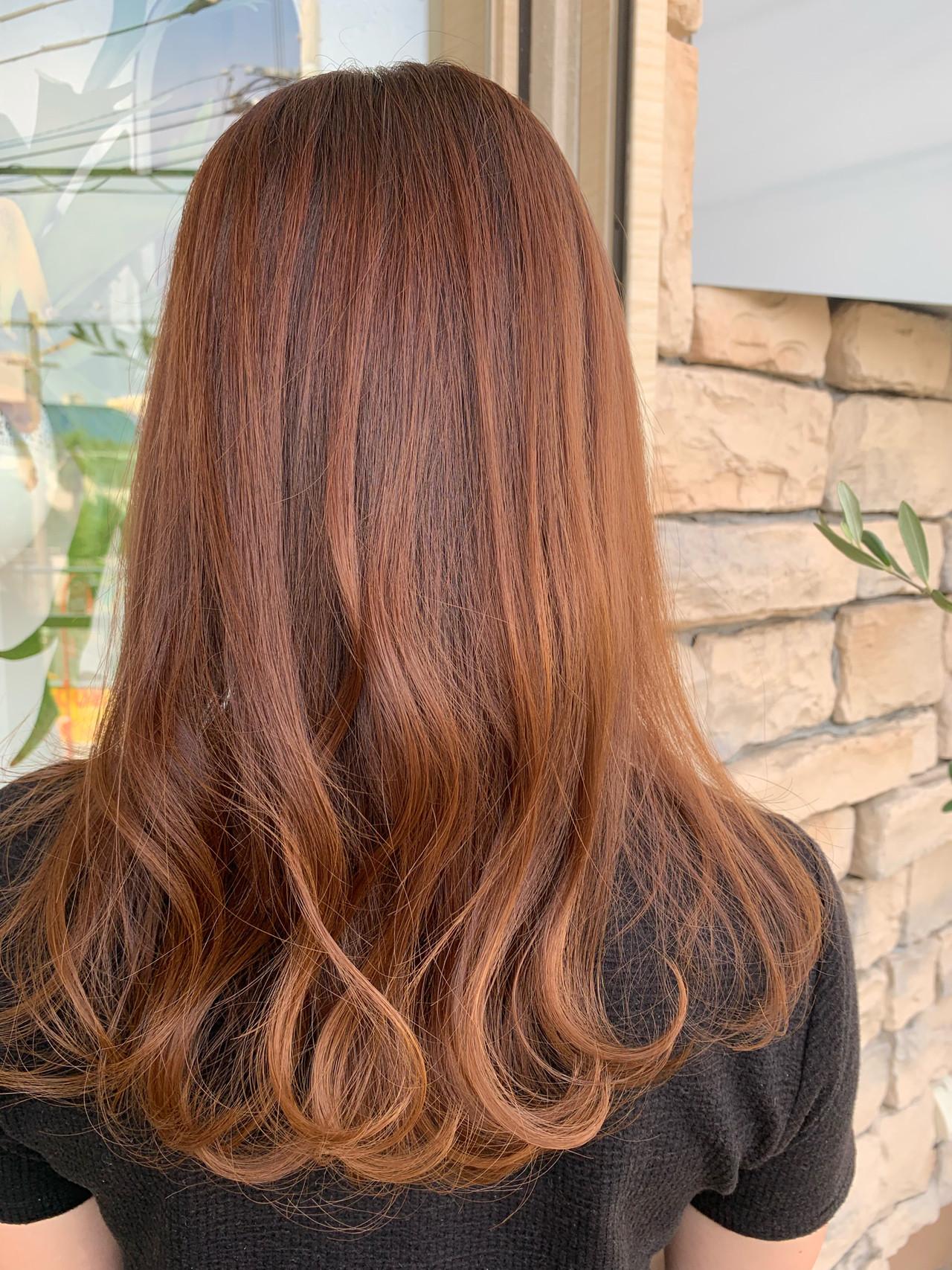 暖色 透明感カラー デート コーラル ヘアスタイルや髪型の写真・画像 | ますだまりな / hair make misty