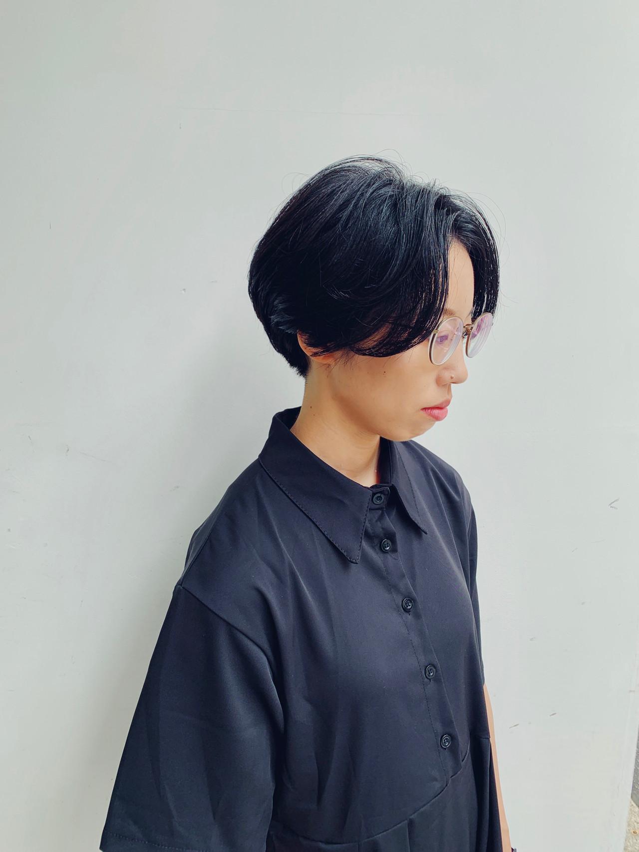 モード 大人ショート ショート 黒髪ヘアスタイルや髪型の写真・画像