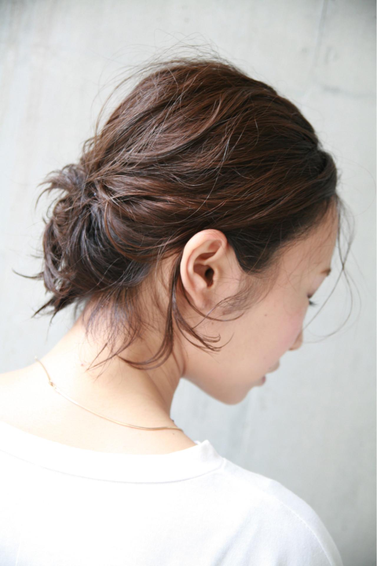 お団子 簡単ヘアアレンジ 大人かわいい 涼しげヘアスタイルや髪型の写真・画像