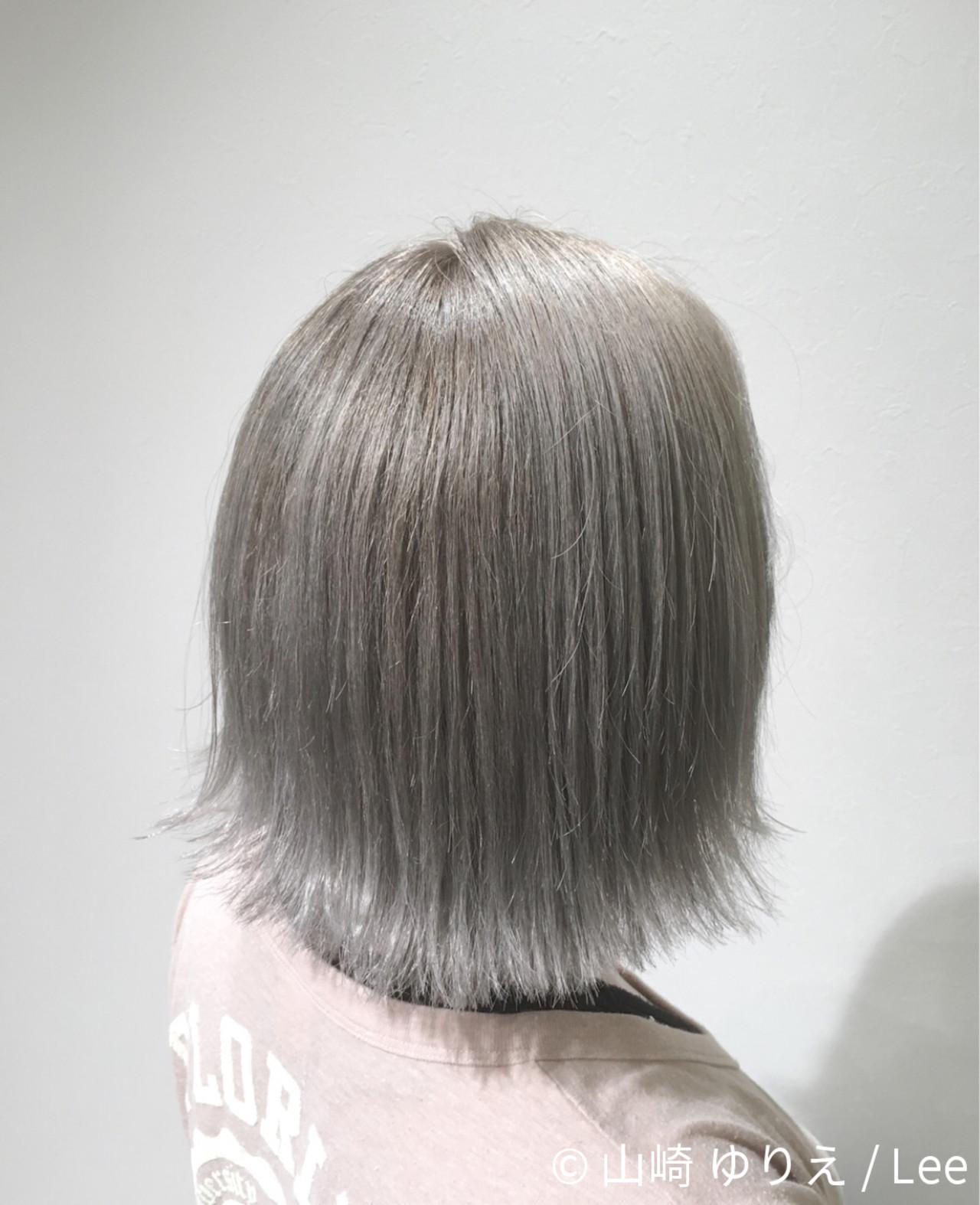 外国人風 外ハネ ハイライト ボブ ヘアスタイルや髪型の写真・画像 | 山崎 ゆりえ / Lee / lee東大阪