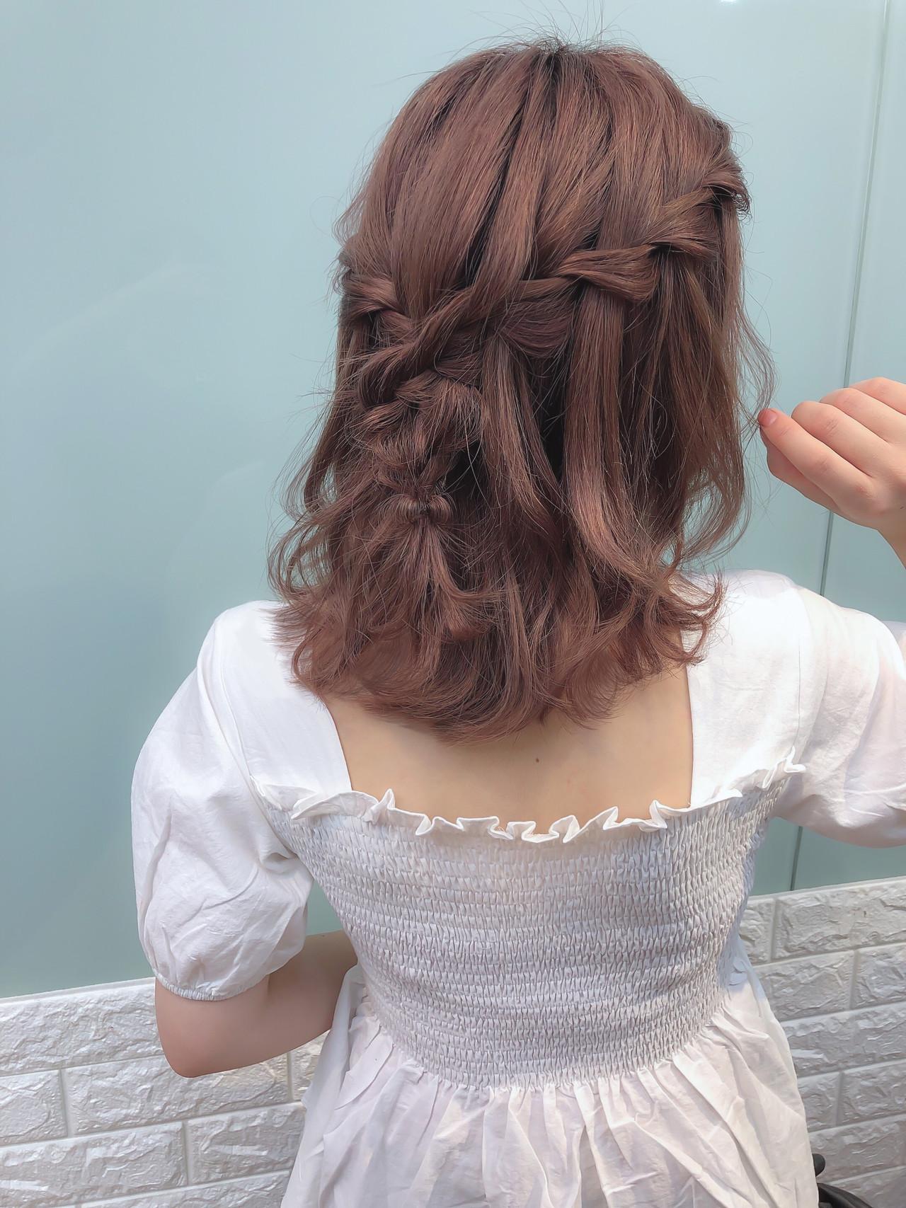 ピンク ピンクベージュ 切りっぱなしボブ ガーリー ヘアスタイルや髪型の写真・画像
