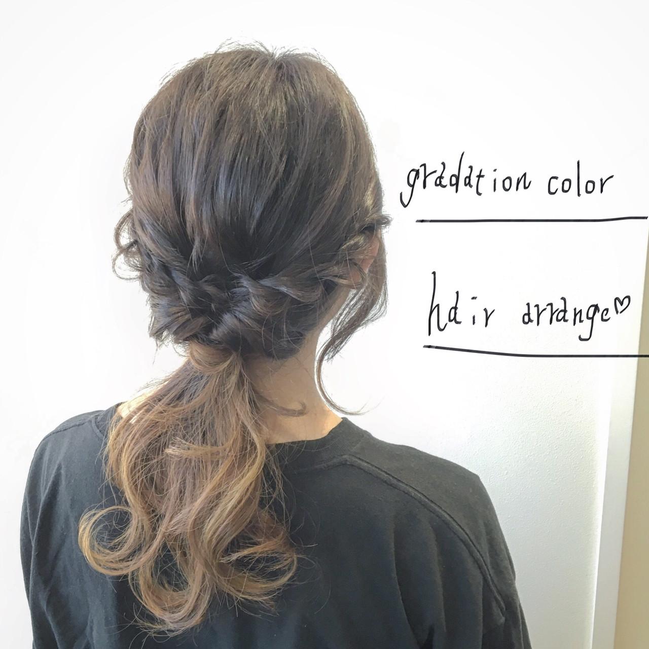 大人かわいい ショート 簡単ヘアアレンジ グラデーションカラーヘアスタイルや髪型の写真・画像