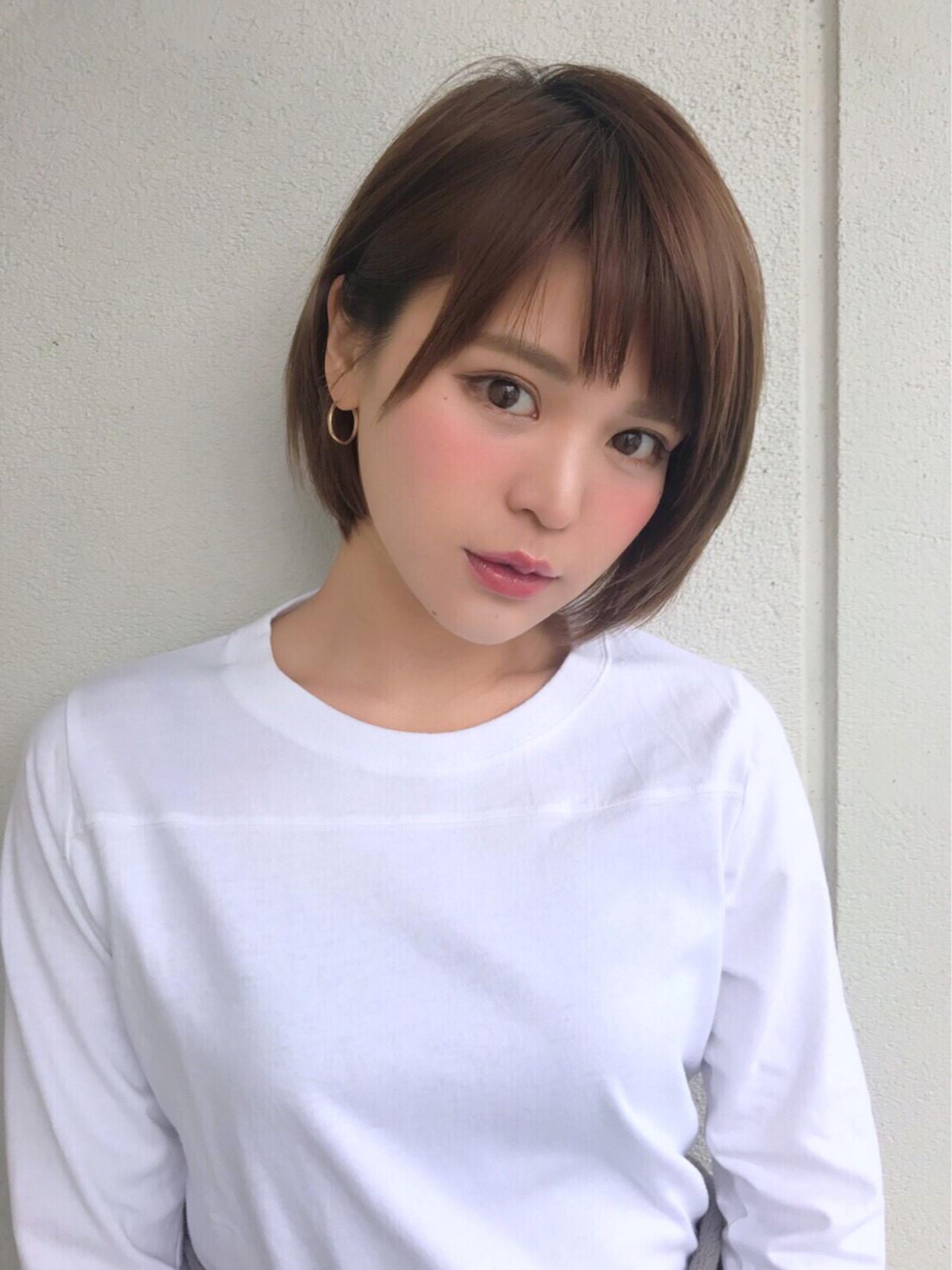 ショートボブ 斜め前髪 ナチュラル 小顔 ヘアスタイルや髪型の写真・画像 | 高橋苗 / GARDENharajuku