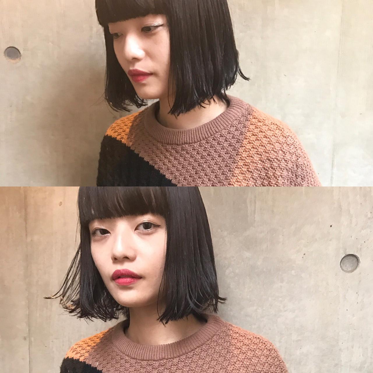 小顔 黒髪 こなれ感 大人女子ヘアスタイルや髪型の写真・画像