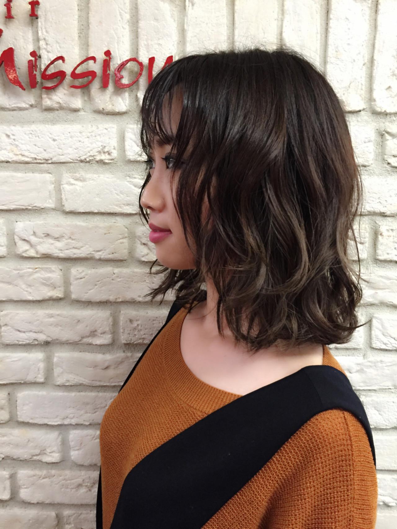 ボブ 色気 ミディアム 外国人風 ヘアスタイルや髪型の写真・画像 | 堂園知里 / hair Mission