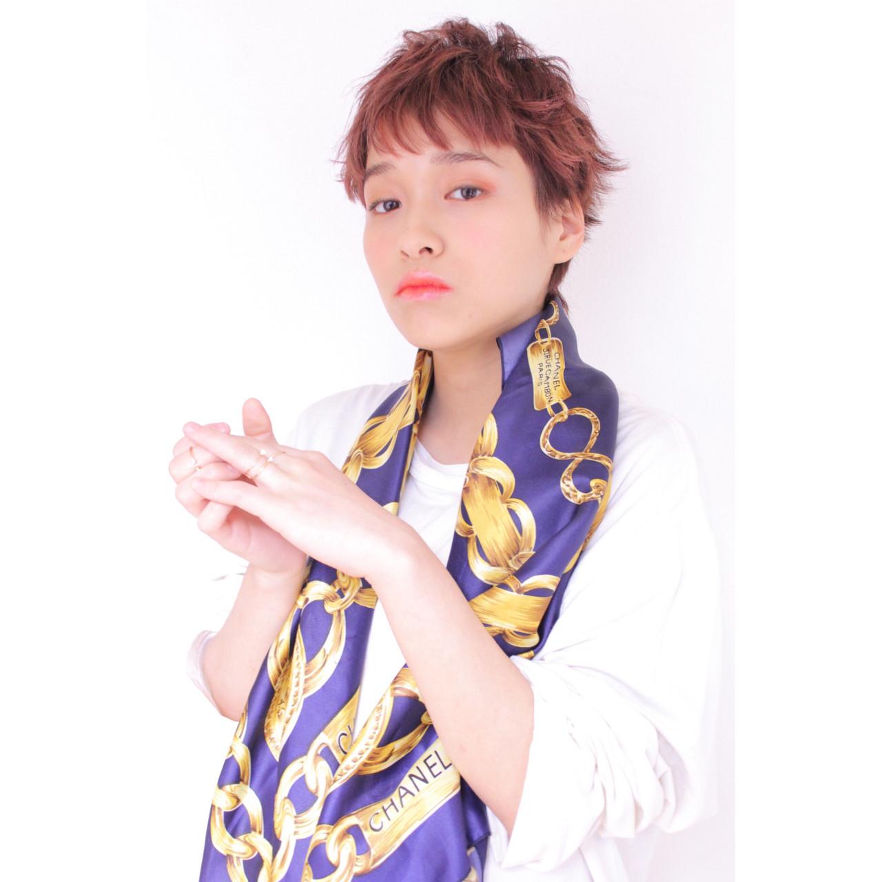 フェミニン ショート ベリーピンク マッシュ ヘアスタイルや髪型の写真・画像 | 堂園知里 / hair Mission