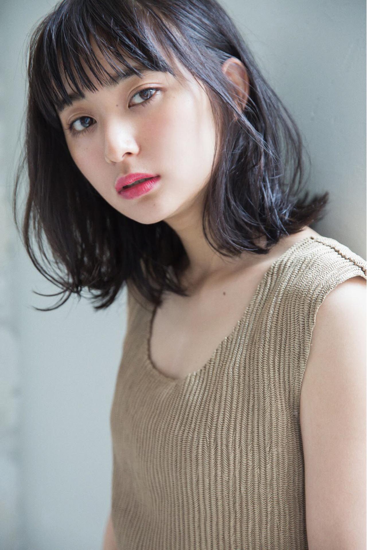前髪あり ナチュラル ゆるふわ ロブ ヘアスタイルや髪型の写真・画像 | ファム(くせ毛特化型美容師) EnglishOK / Unami kichijoji