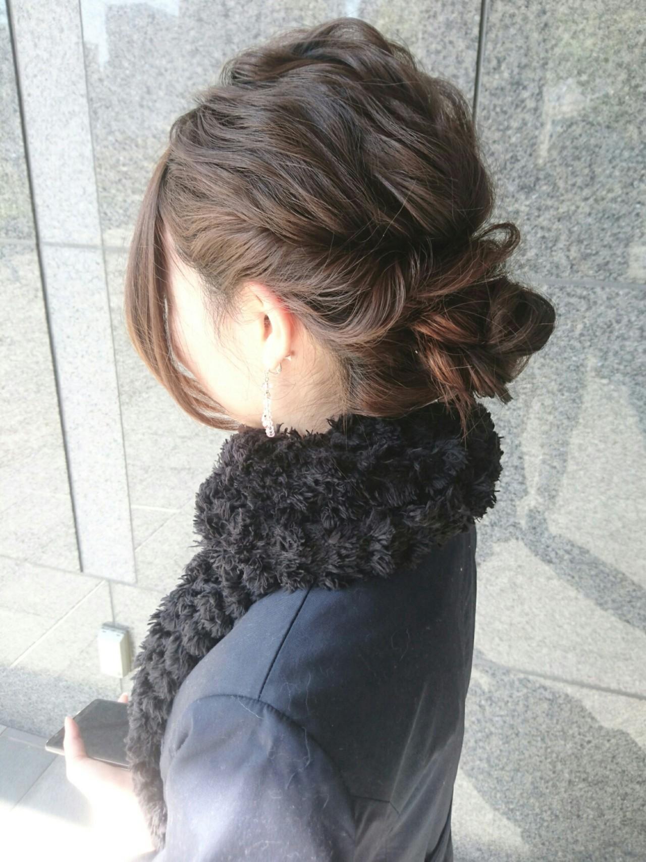 ハーフアップ ショート ヘアアレンジ セミロング ヘアスタイルや髪型の写真・画像 | 島田 和也 / hair&spa feliceMICHI