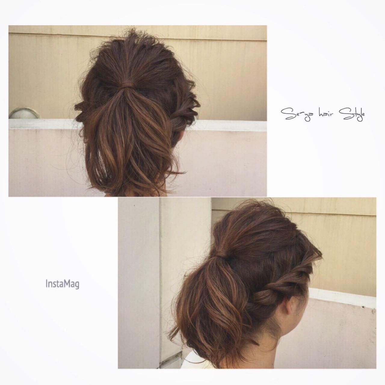 ショート 簡単ヘアアレンジ ヘアアレンジ アッシュ ヘアスタイルや髪型の写真・画像 | SEIYA YAMAMOTO / Real me