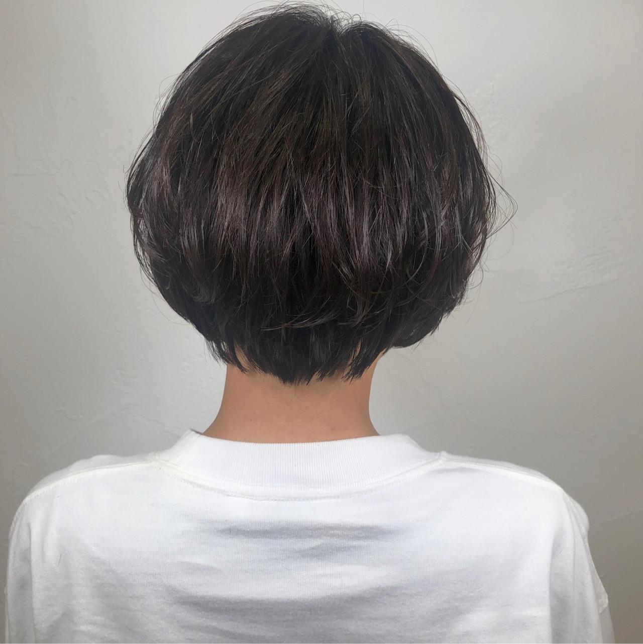 ショート パーマ ナチュラル 黒髪 ヘアスタイルや髪型の写真・画像 | ヨシオカナミ / WILLOW〜shrothair&shortbob〜