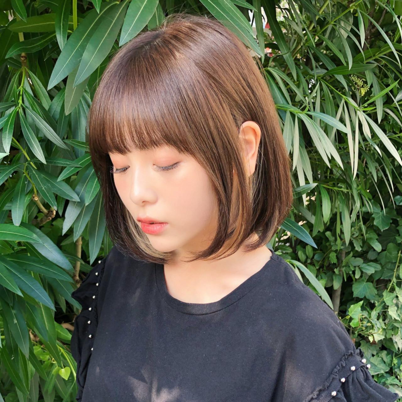 切りっぱなしボブ インナーカラー ショートボブ ボブ ヘアスタイルや髪型の写真・画像   趙 英来 (よん) / nex