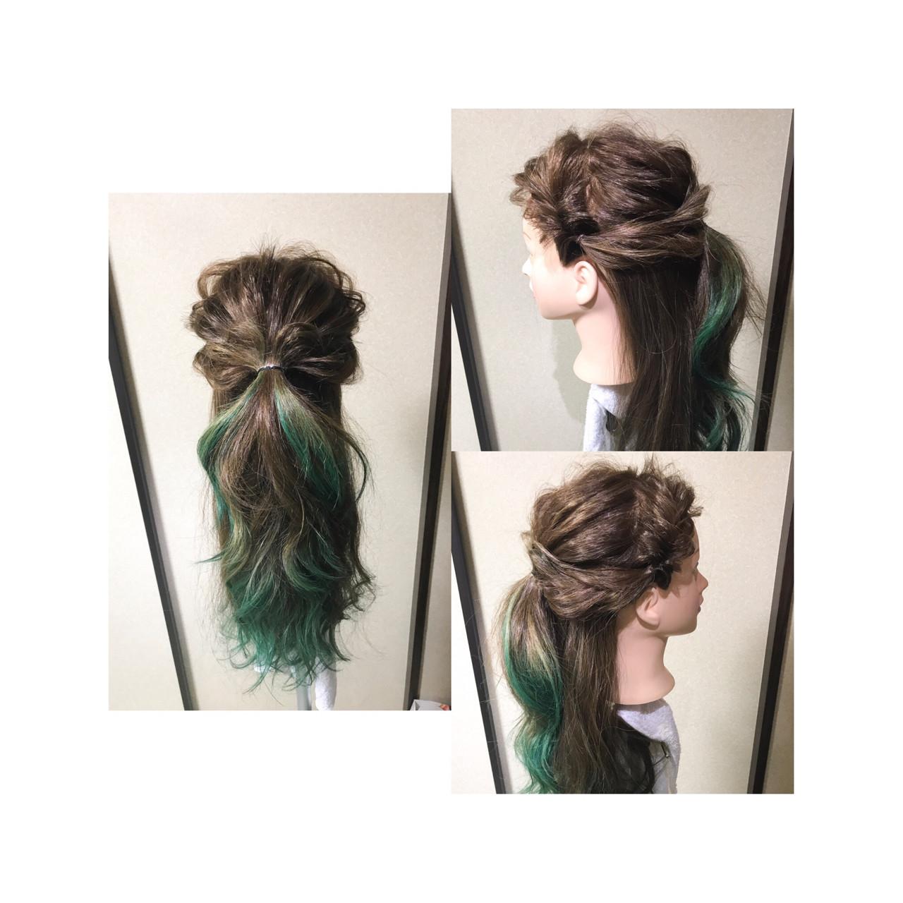編み込み ロング フェミニン ヘアアレンジヘアスタイルや髪型の写真・画像
