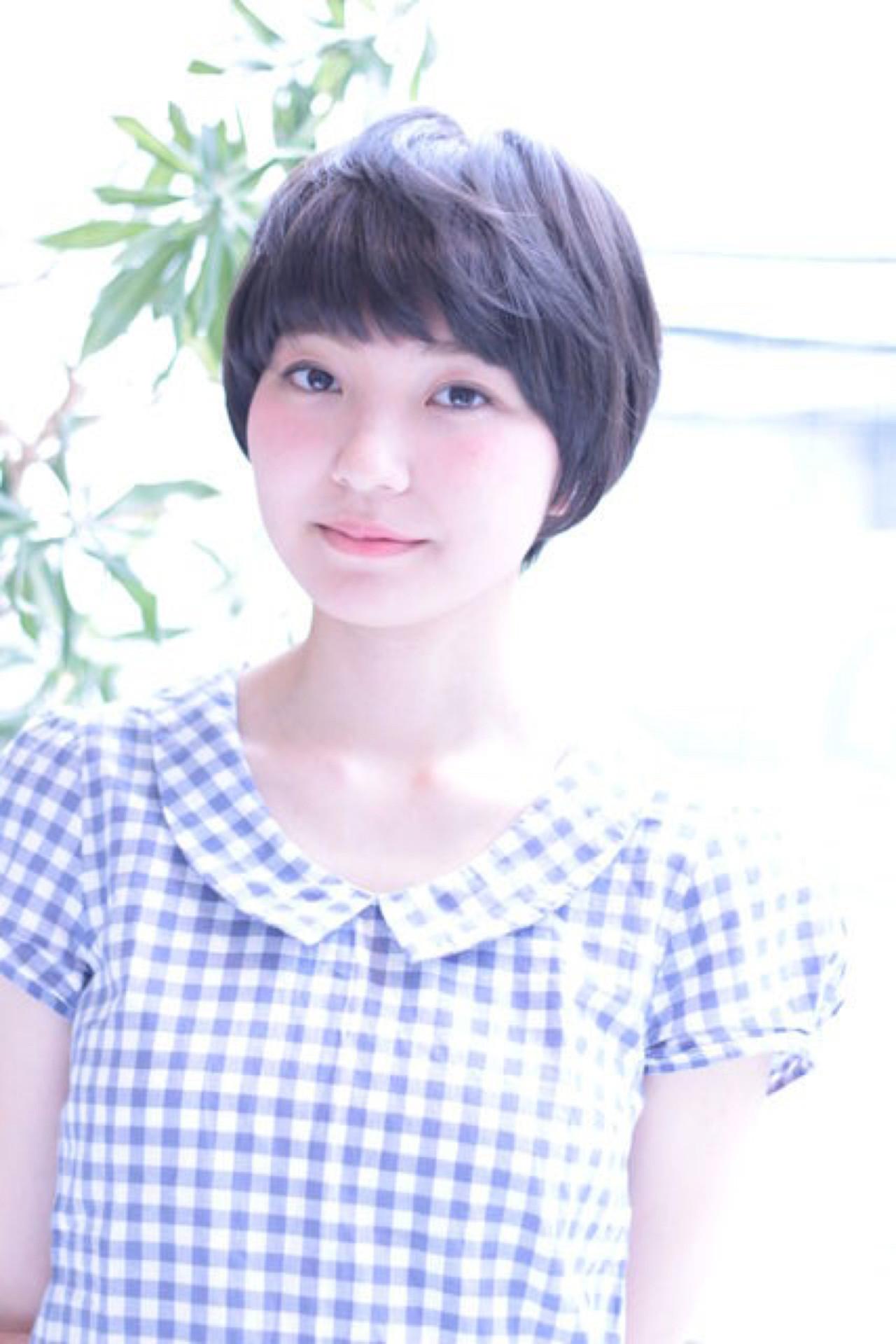 小顔 ショート ショートバング ガーリー ヘアスタイルや髪型の写真・画像 | 相澤雄大 / insence用賀店
