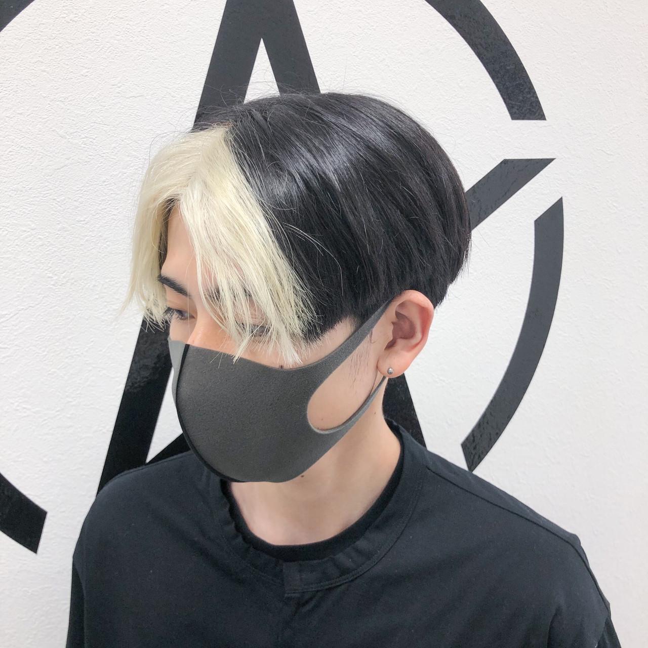 ブリーチオンカラー モード ブリーチ ホワイトブリーチヘアスタイルや髪型の写真・画像