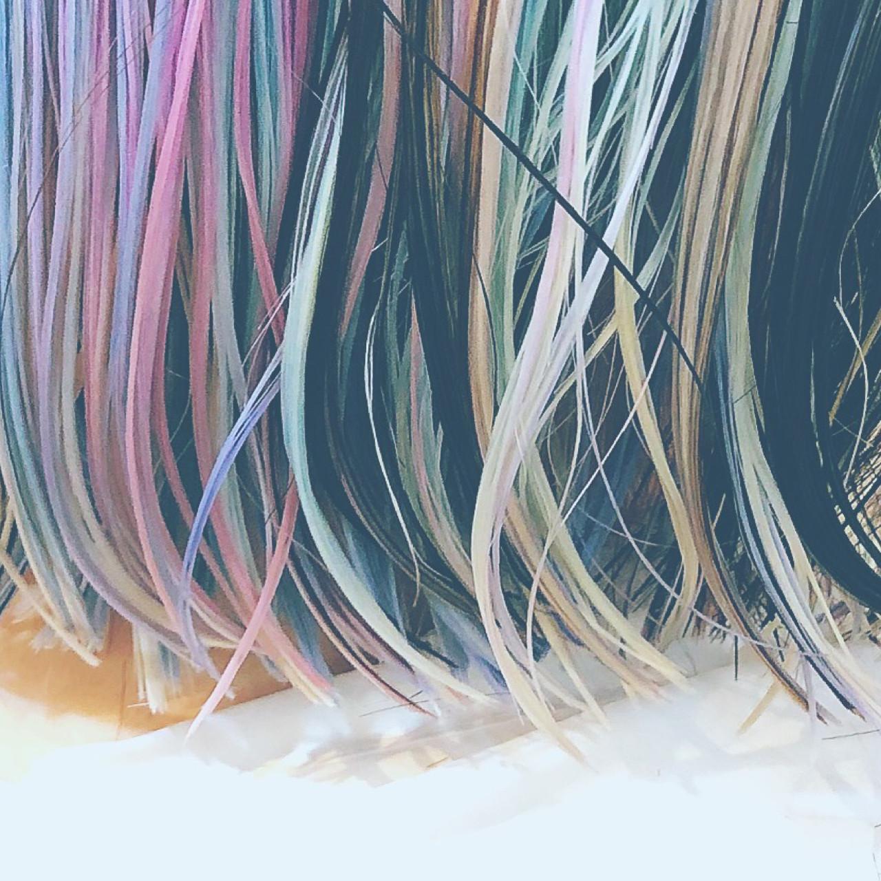 ボブ ガーリー ピンク ハイライトヘアスタイルや髪型の写真・画像