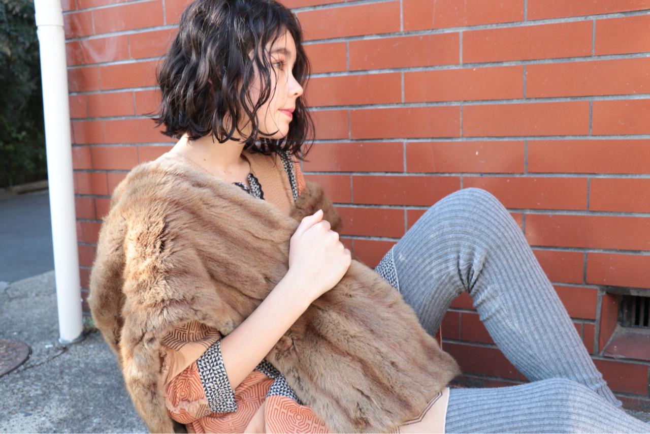 モード 外国人風 くせ毛風 ボブヘアスタイルや髪型の写真・画像