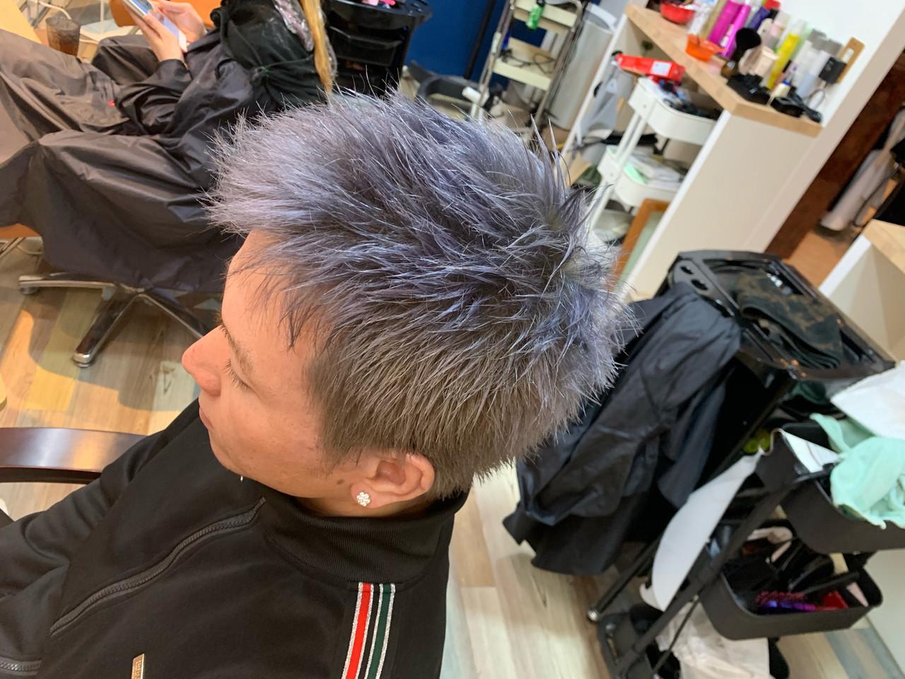メンズ メンズヘア ラベンダーアッシュ ショート ヘアスタイルや髪型の写真・画像 | Hatori Masaki / rela hair salon