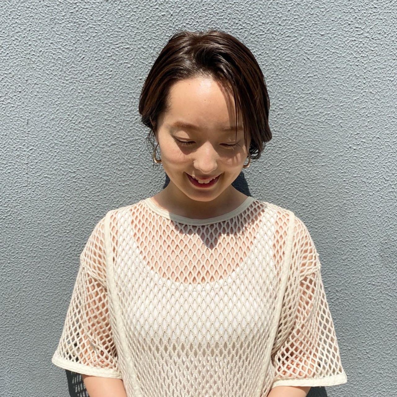 ショートボブ 大人ショート ナチュラル ハンサムショート ヘアスタイルや髪型の写真・画像 | asuka /