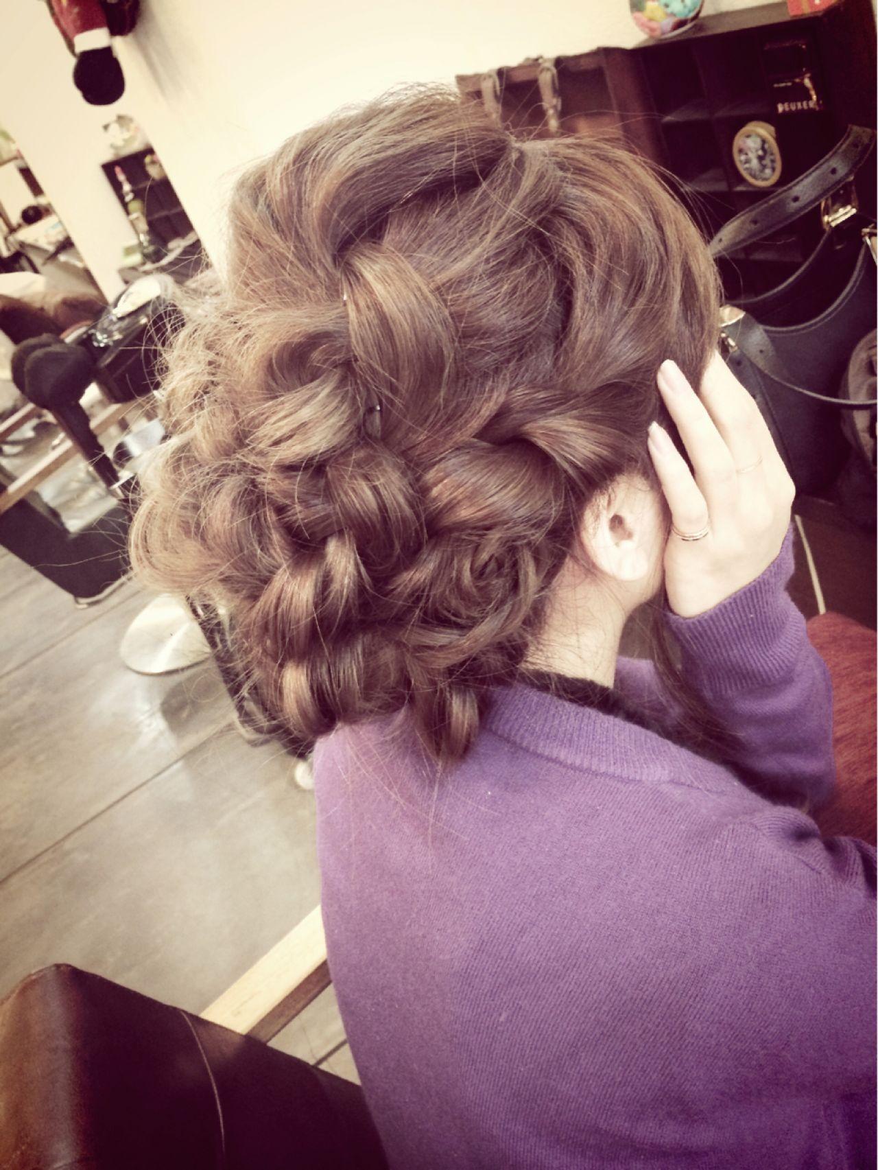 アップスタイル 編み込み ねじり ヘアアレンジ ヘアスタイルや髪型の写真・画像 | 田渕 英和/vicushair / vicushair