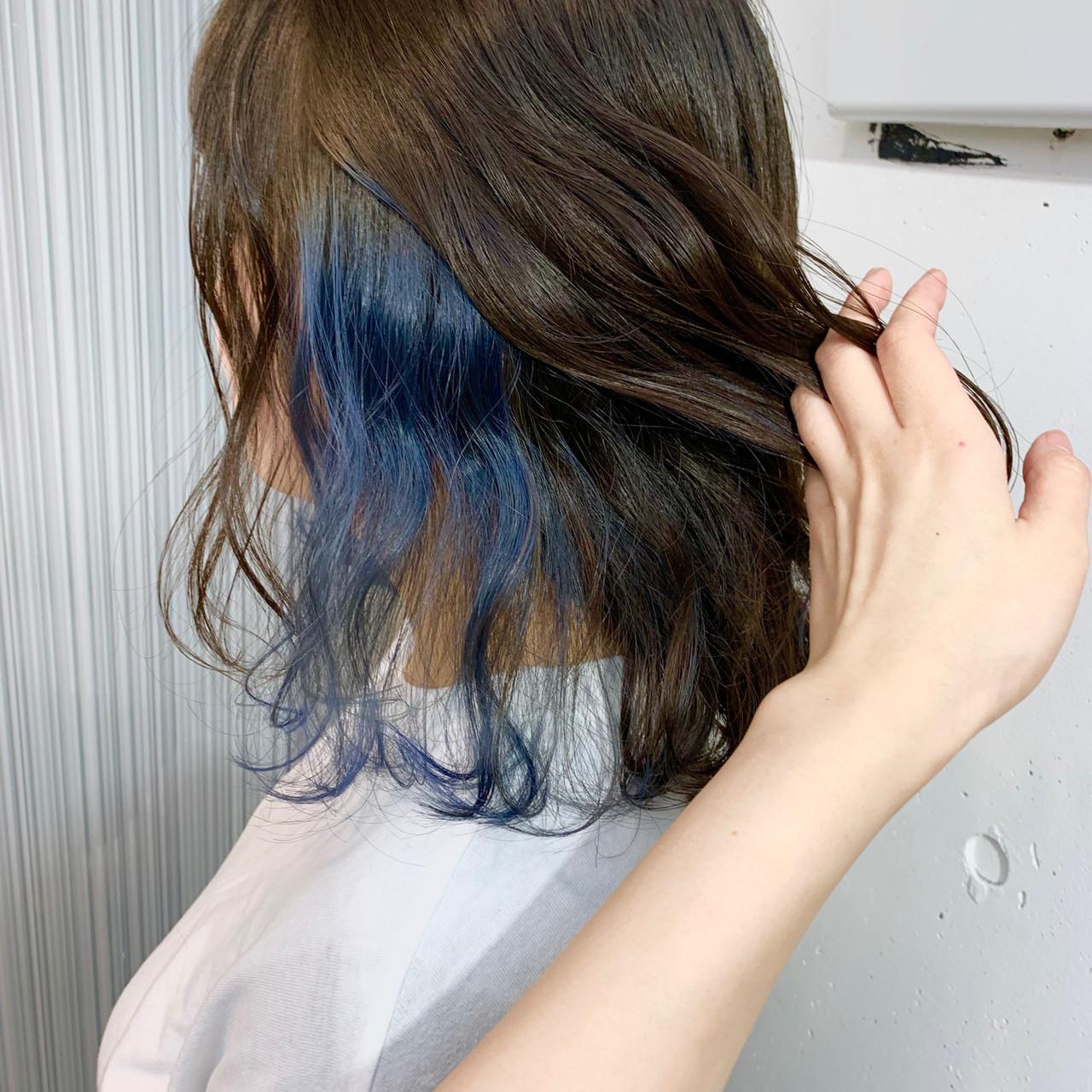 インナーカラー ブルー ダブルカラー ハイライト ヘアスタイルや髪型の写真・画像 | アヤ / Lano by HAIR