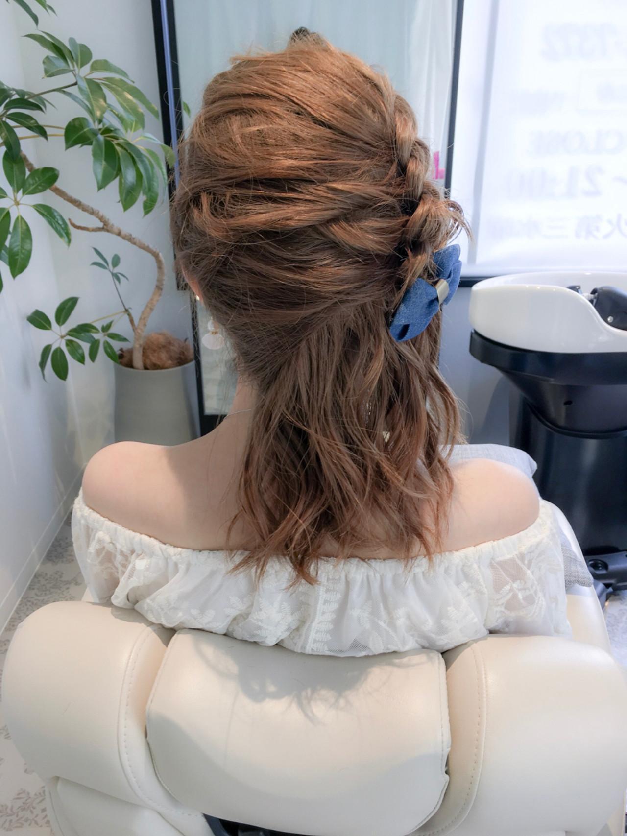 ガーリー ハーフアップ アウトドア 編み込み ヘアスタイルや髪型の写真・画像   美容師HIRO/Amoute代表 / Amoute/アムティ