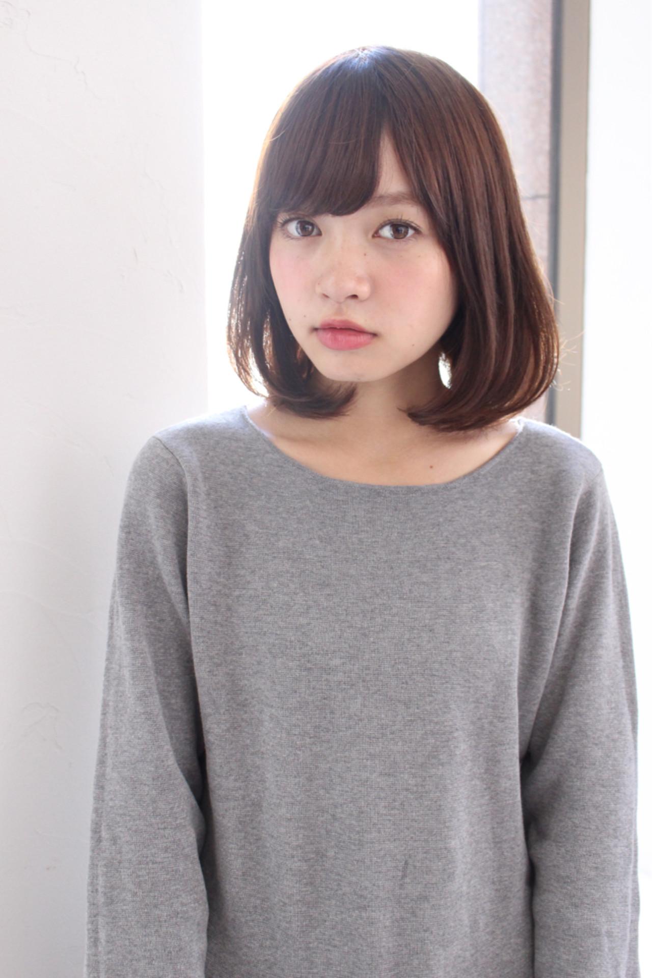 ナチュラル フリンジバング ミルクティー 黒髪 ヘアスタイルや髪型の写真・画像 | 赤井希望 / joemibyUnami