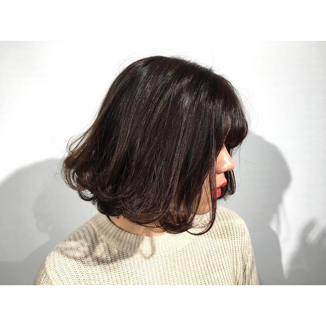暗髪 ストリート ボブ 外ハネ ヘアスタイルや髪型の写真・画像 | KE-TO / TLONY