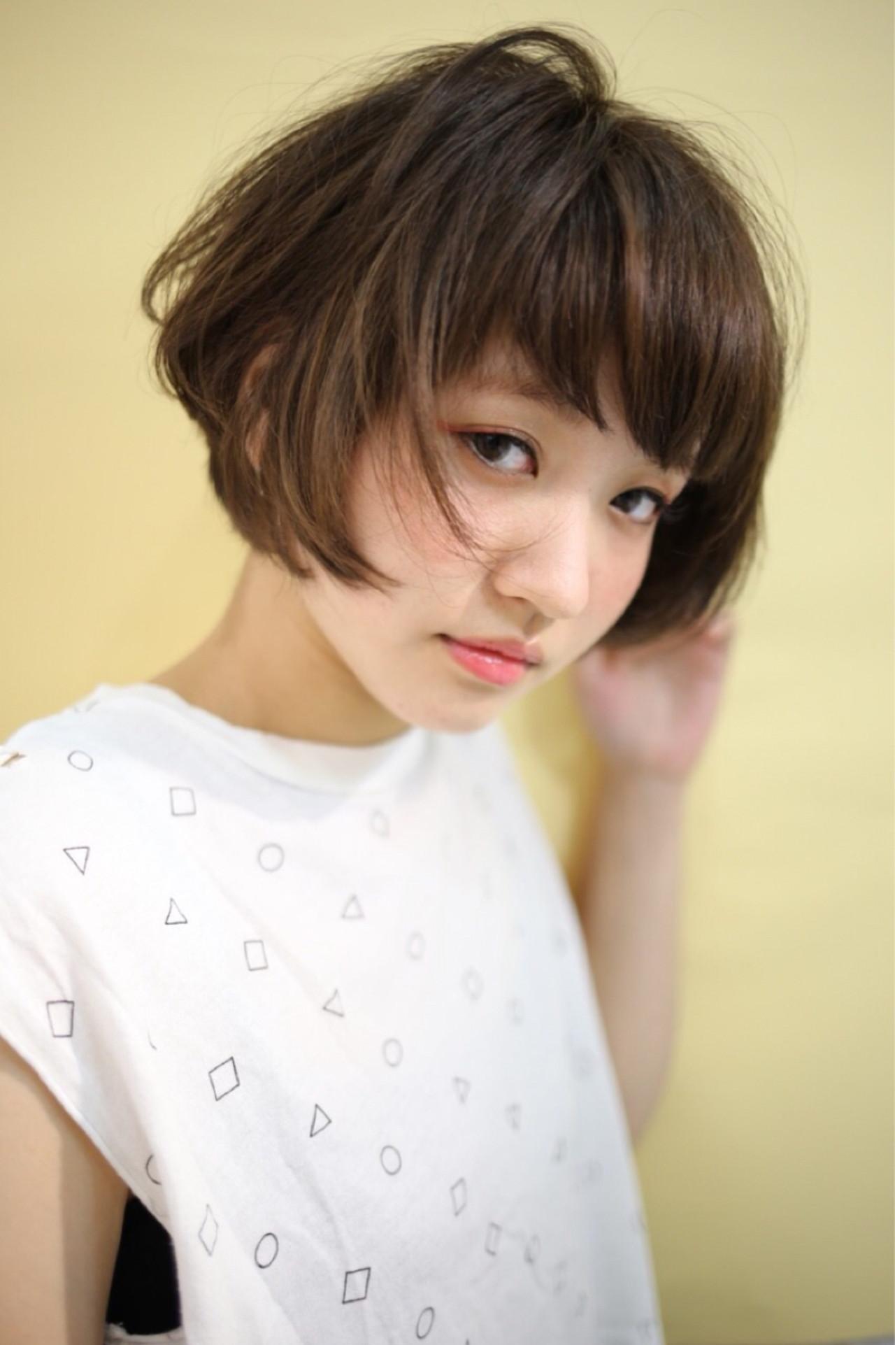 暗髪 ショート アッシュ ストリート ヘアスタイルや髪型の写真・画像 | 碩美咲 /