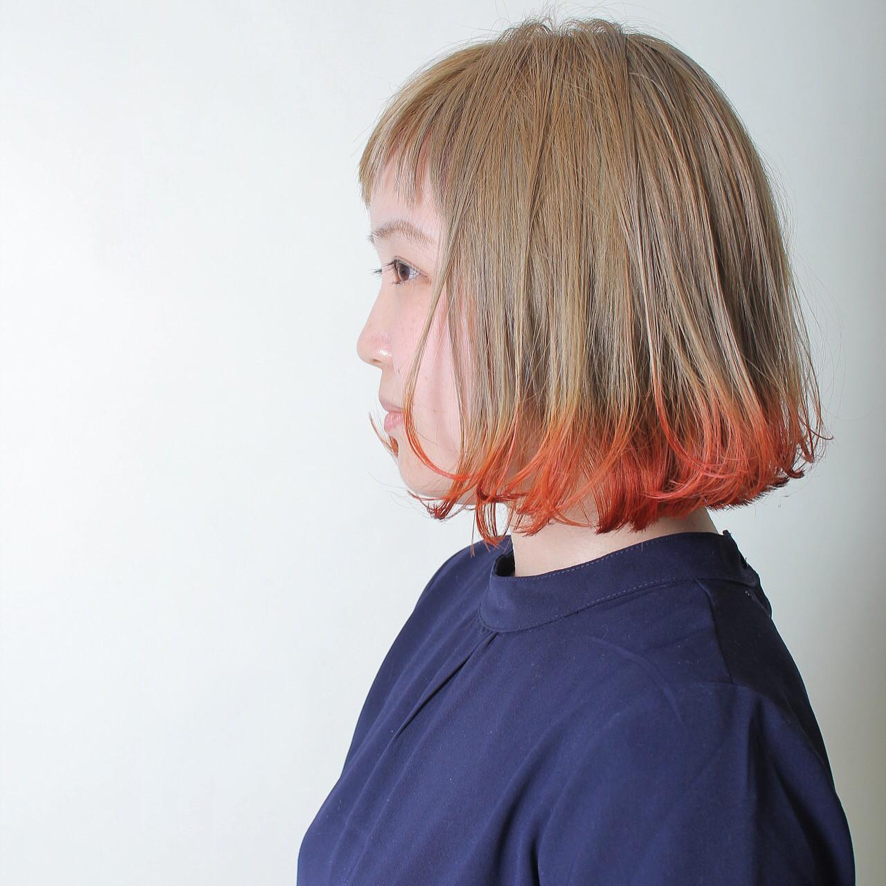 ナチュラル グラデーションカラー オレンジ レッド ヘアスタイルや髪型の写真・画像 | 山本尚也 / Libett(リベット)