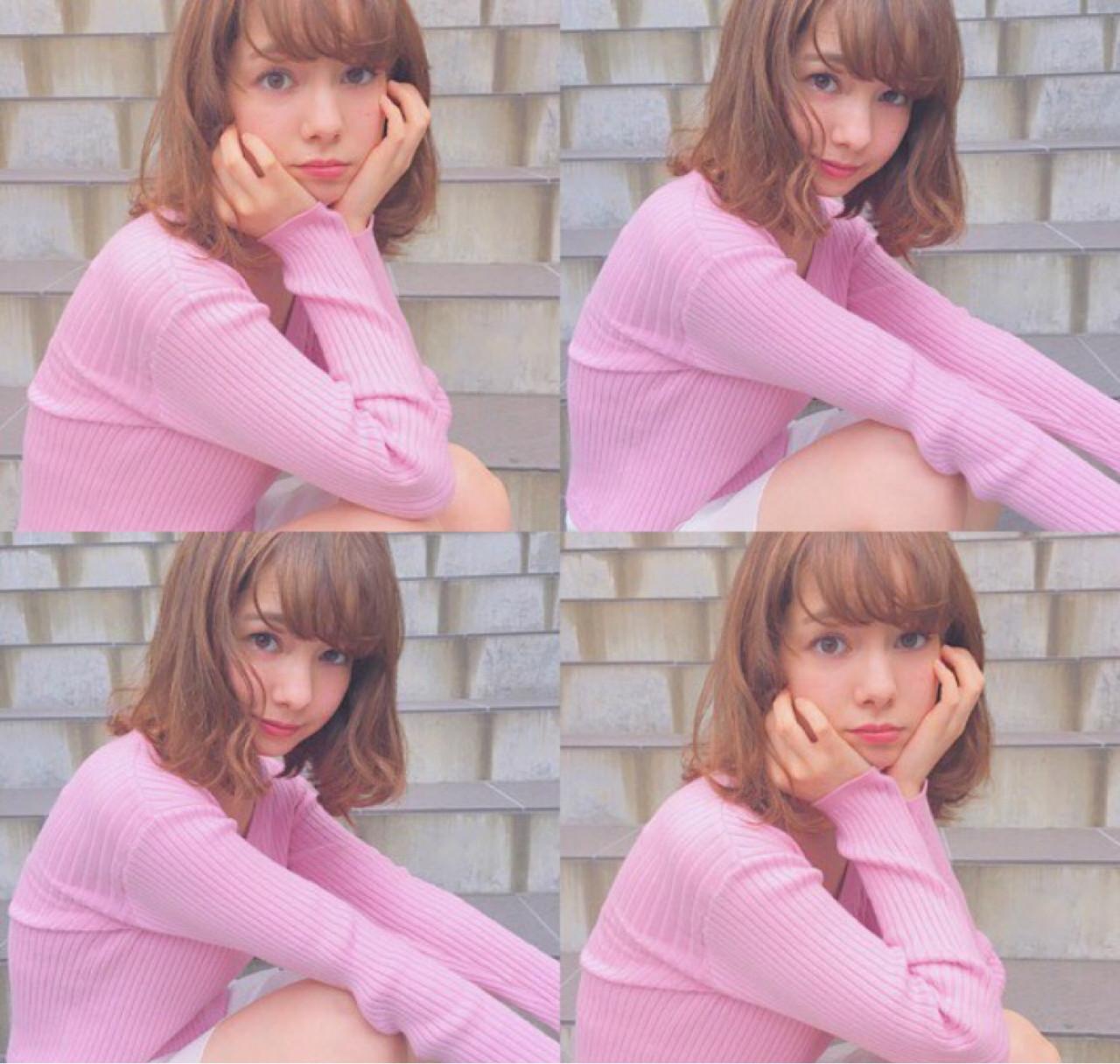 ミディアム くせ毛風 ピュア フェミニン ヘアスタイルや髪型の写真・画像 | 山本麻美 / CANAAN