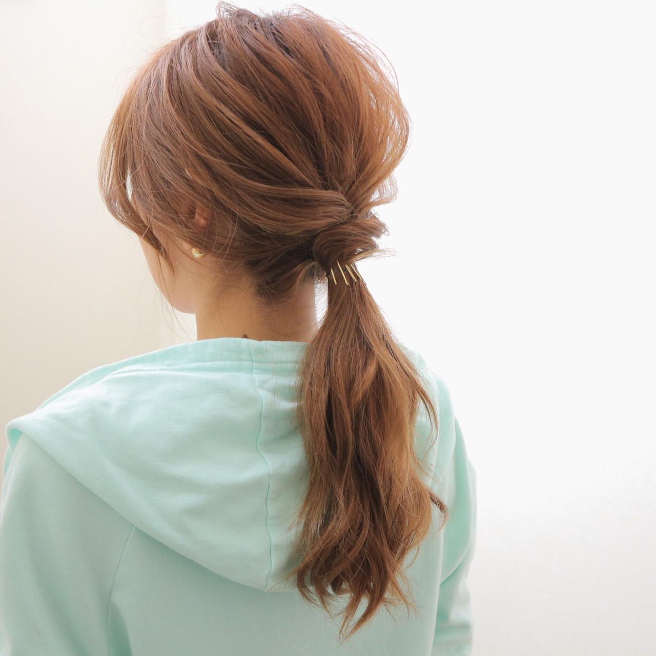ローポニーテール ヘアアレンジ ロング 簡単ヘアスタイルや髪型の写真・画像