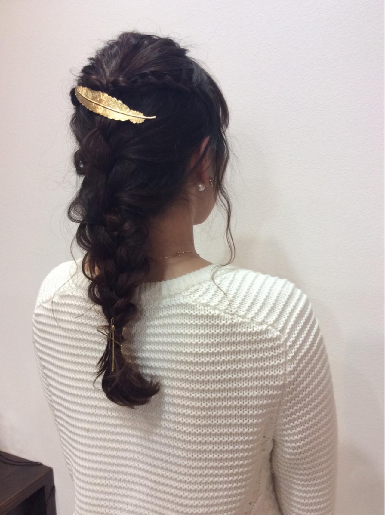 編み込み ガーリー 大人かわいい ロング ヘアスタイルや髪型の写真・画像 | DeSSey / arms hair DeSSey