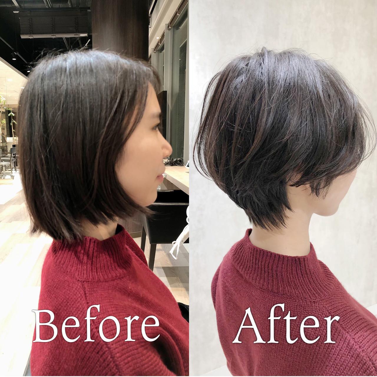ナチュラル インナーカラー ショートボブ ショートヘア ヘアスタイルや髪型の写真・画像 | 金田 尚之 / k-two  青山