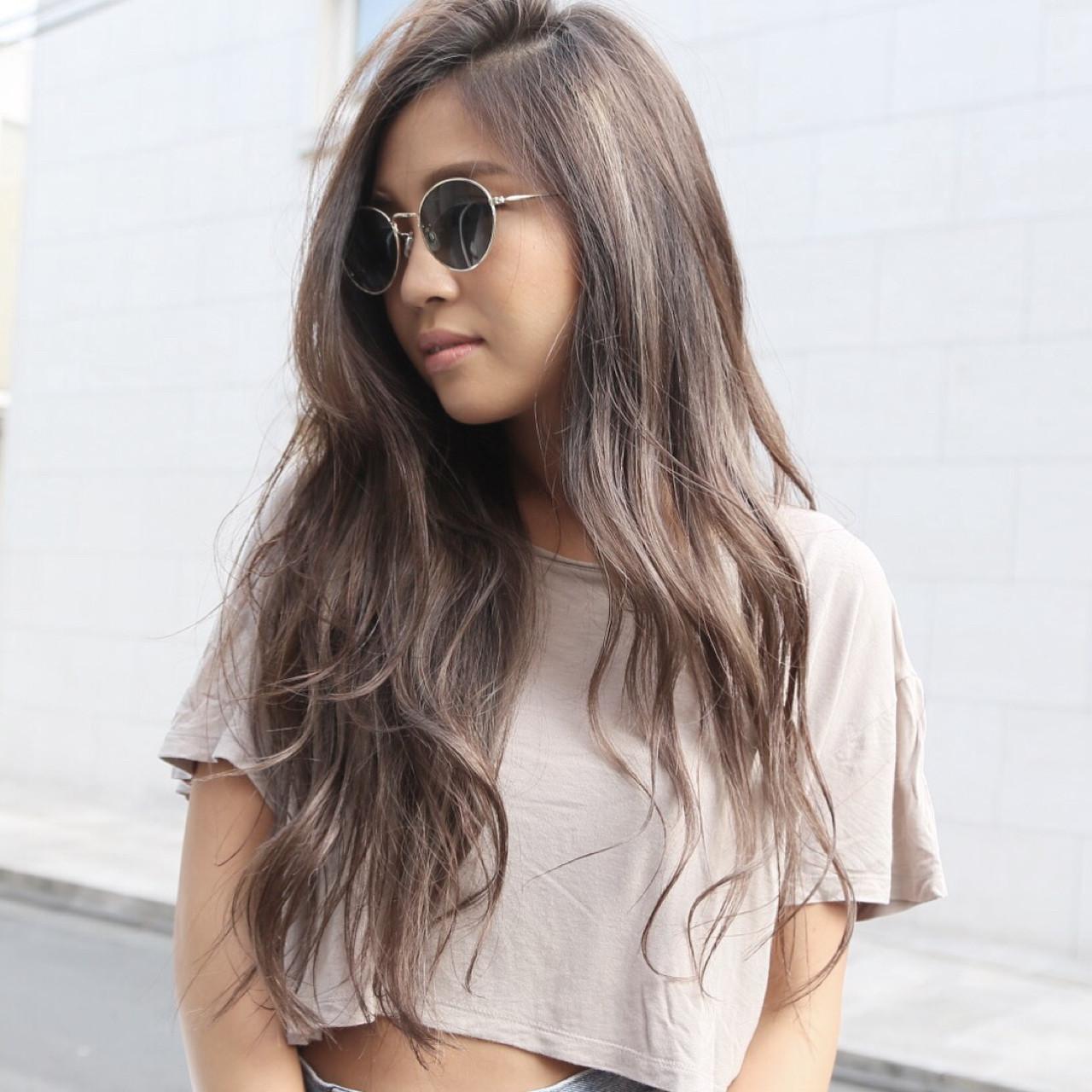 ハイライト グラデーションカラー ロング ニュアンスヘアスタイルや髪型の写真・画像