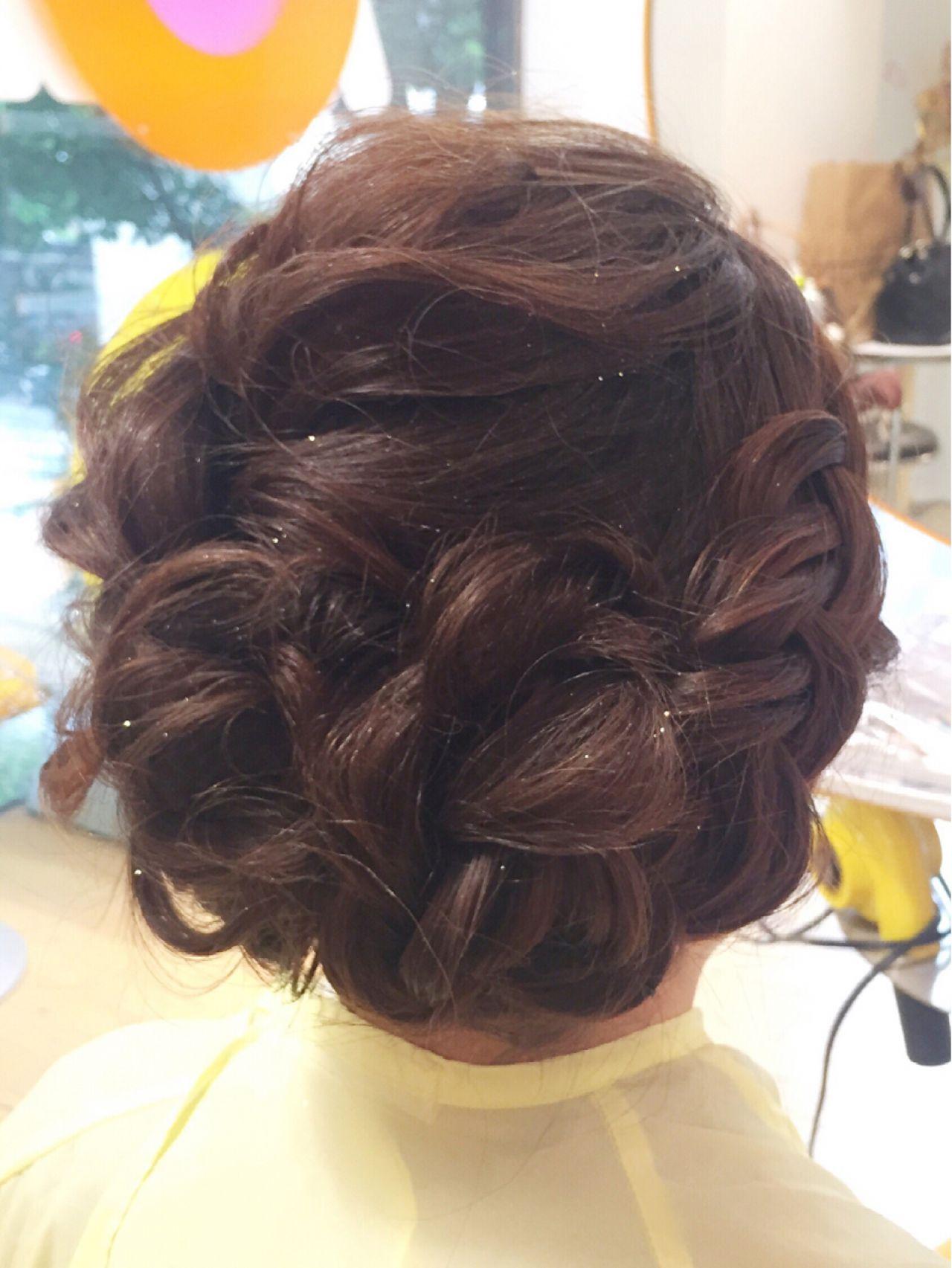 フェミニン 結婚式 編み込み ミディアム ヘアスタイルや髪型の写真・画像 | 春田 愛海 / VIBE&ANNEX