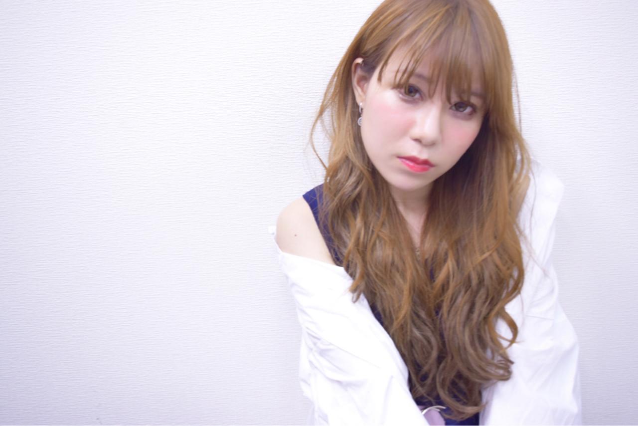 ロング デート シースルーバング フェミニン ヘアスタイルや髪型の写真・画像 | hironao murakami / Eight渋谷本店