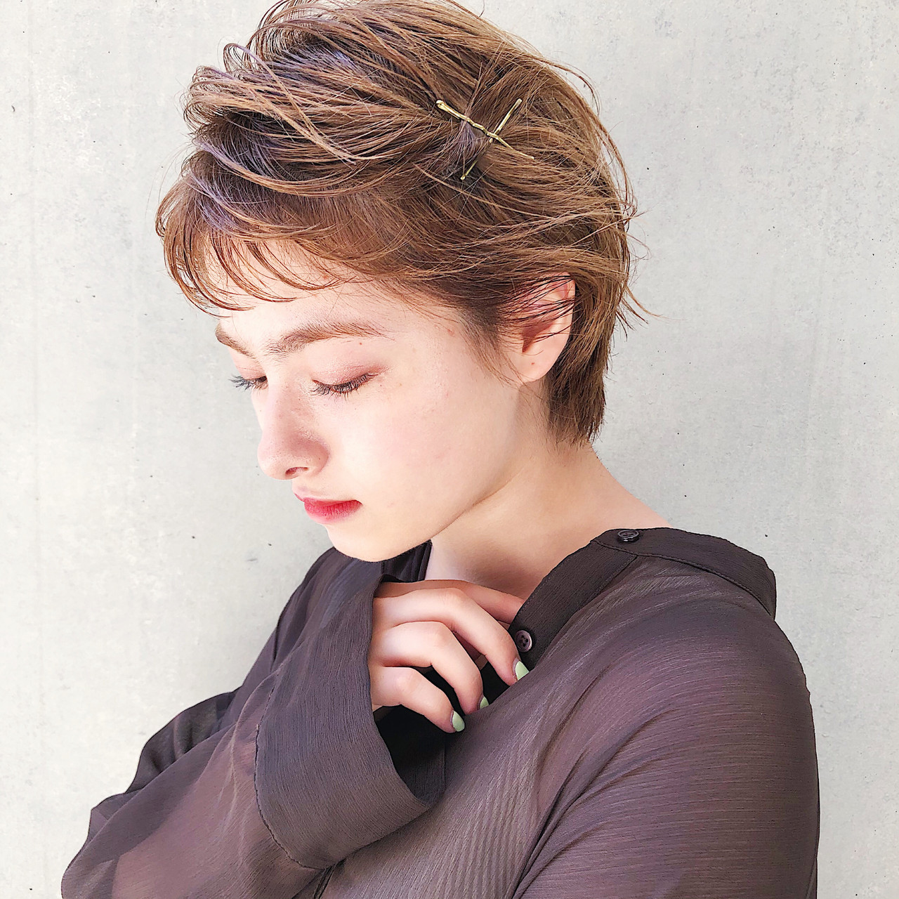 ショートヘア ショート ヘアアレンジ 簡単ヘアアレンジ ヘアスタイルや髪型の写真・画像