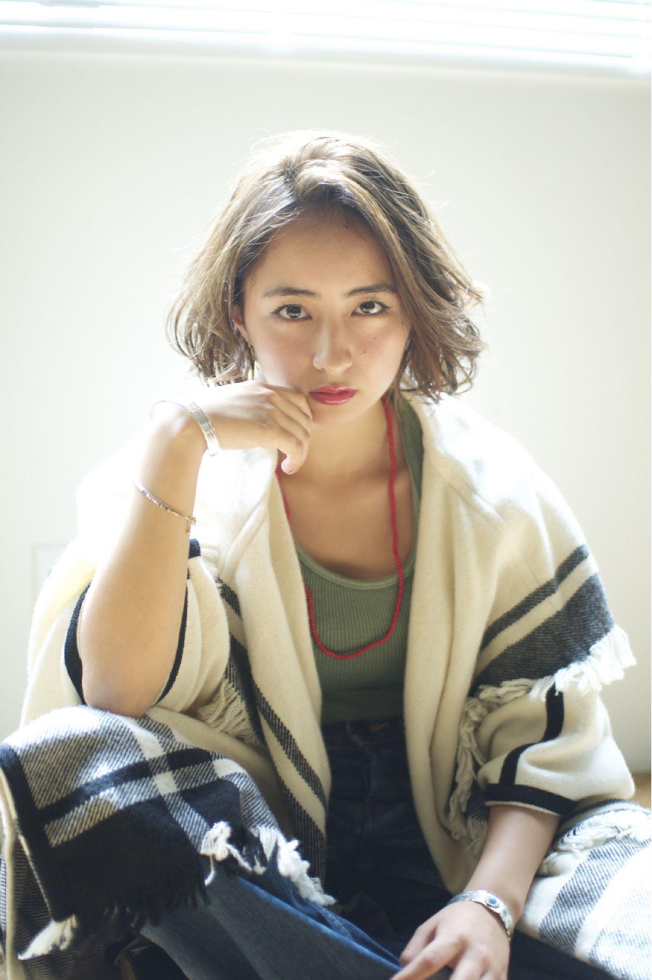 ボブ かき上げ前髪 ストリート サイドアップ ヘアスタイルや髪型の写真・画像 | YUKINA / HOMIE TOKYO / HOMIE TOKYO