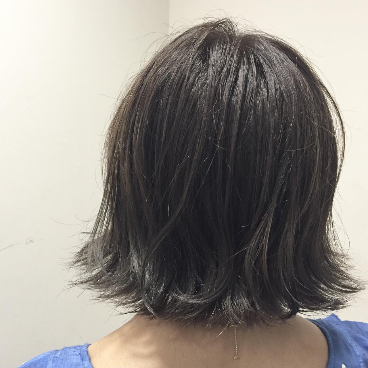 切りっぱなし ハイライト ボブ ガーリー ヘアスタイルや髪型の写真・画像 | 藤井 京介 / allys hair 心斎橋OPA 10F
